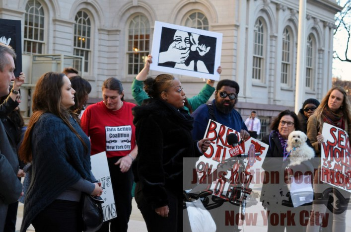 JAC Rallies on Steps of City Hall Calling Attention to Rape Crises on Rikers Island