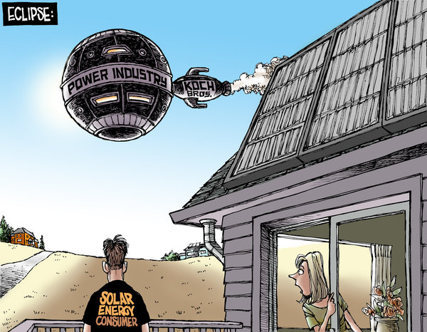 This is an image of the Koch brothers blocking the sun from a solar energy consumer.