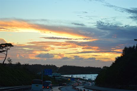 Sunset over the island's main connecting road, viewed from the north looking south.