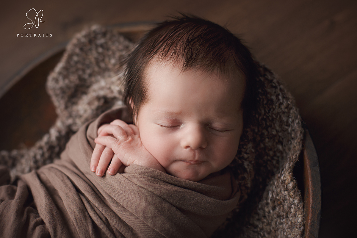 Coalville newborn photography leicestershire, baby in wooden bowl