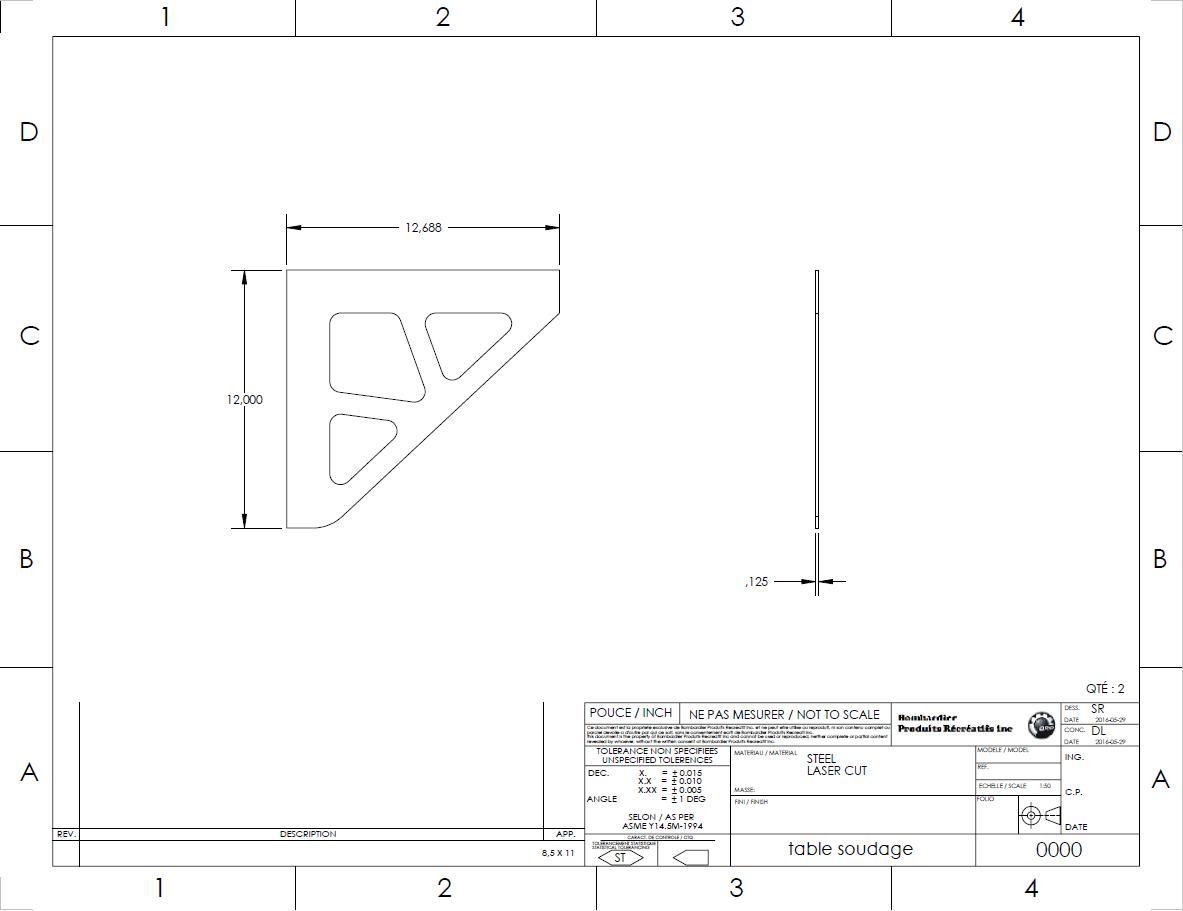 Welding table/fixture plan