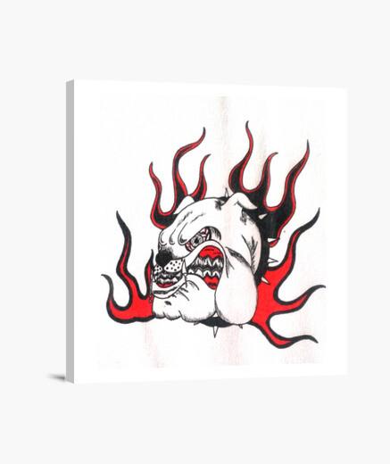 Impression sur toile Dog Tribal Fire le cadre déco !