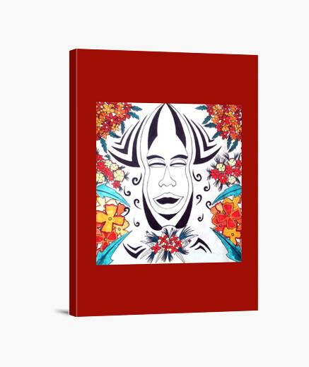 Impression sur toile Maori Art Tribal Flowers, cadre