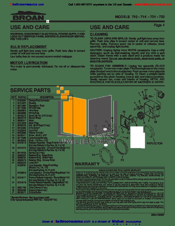 Broan Kitchen Exhaust Fan Manual