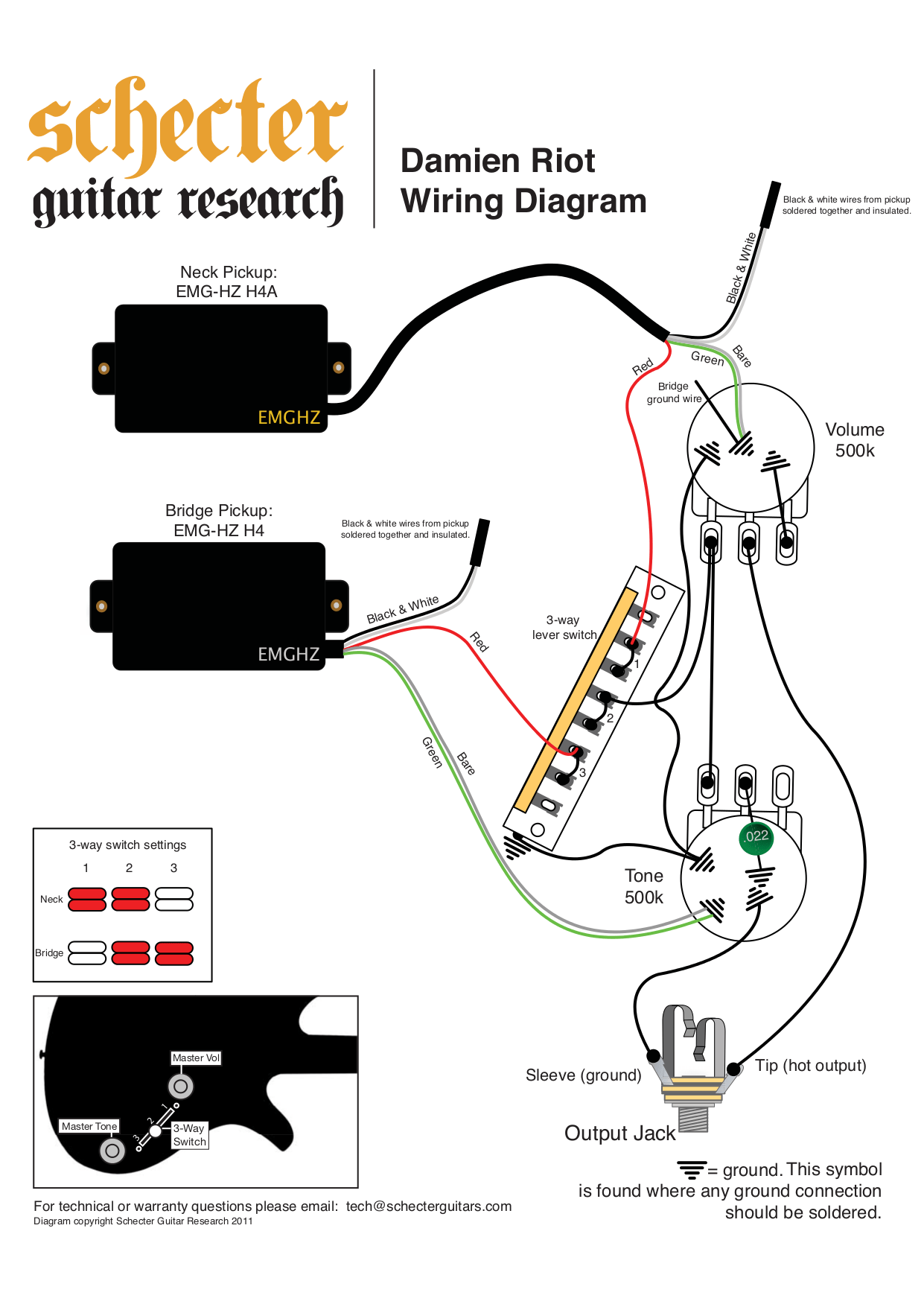 gfs wiring diagrams for humbuckers yamaha 4 zinger wiring
