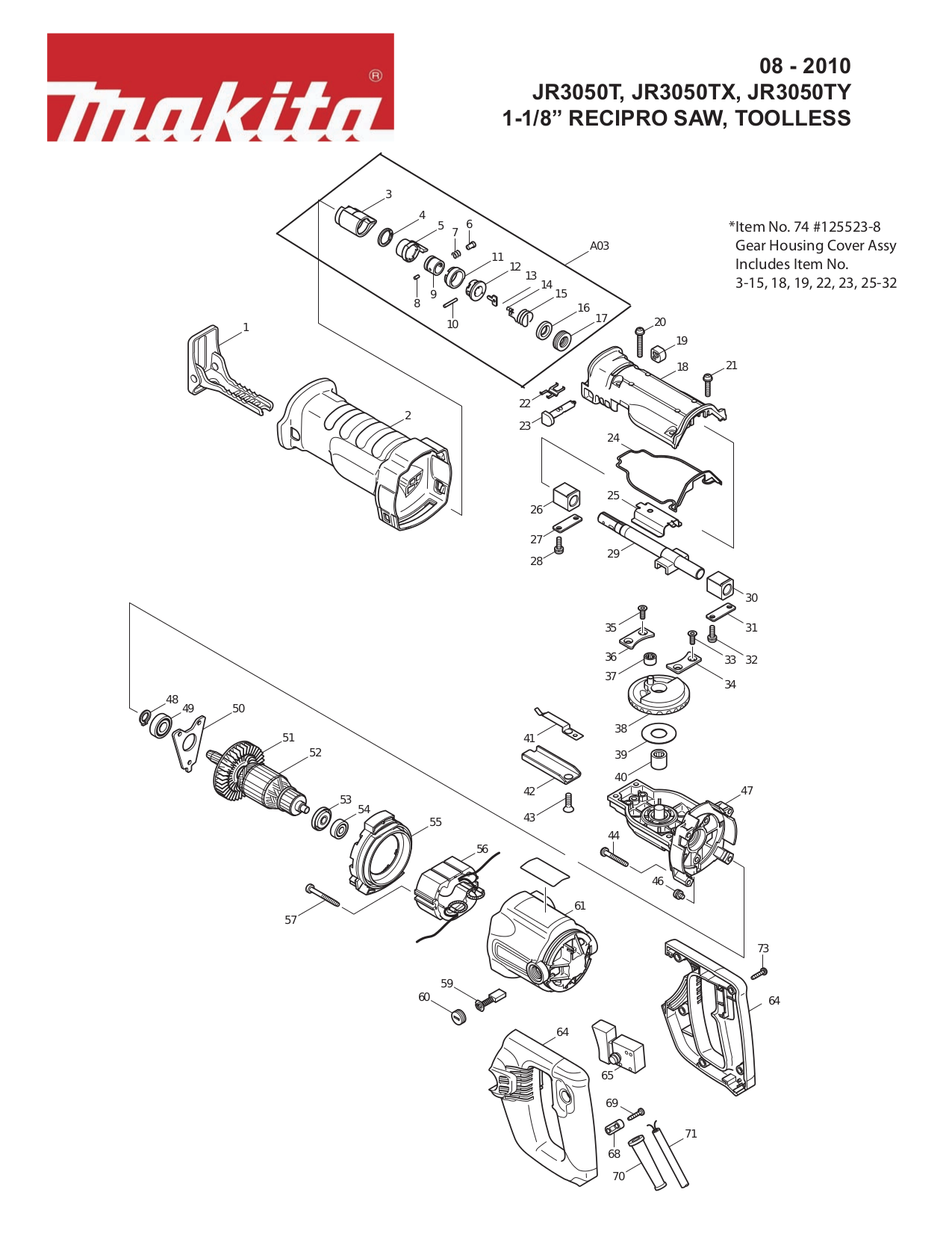 Makita Belt Sander Parts Diagram