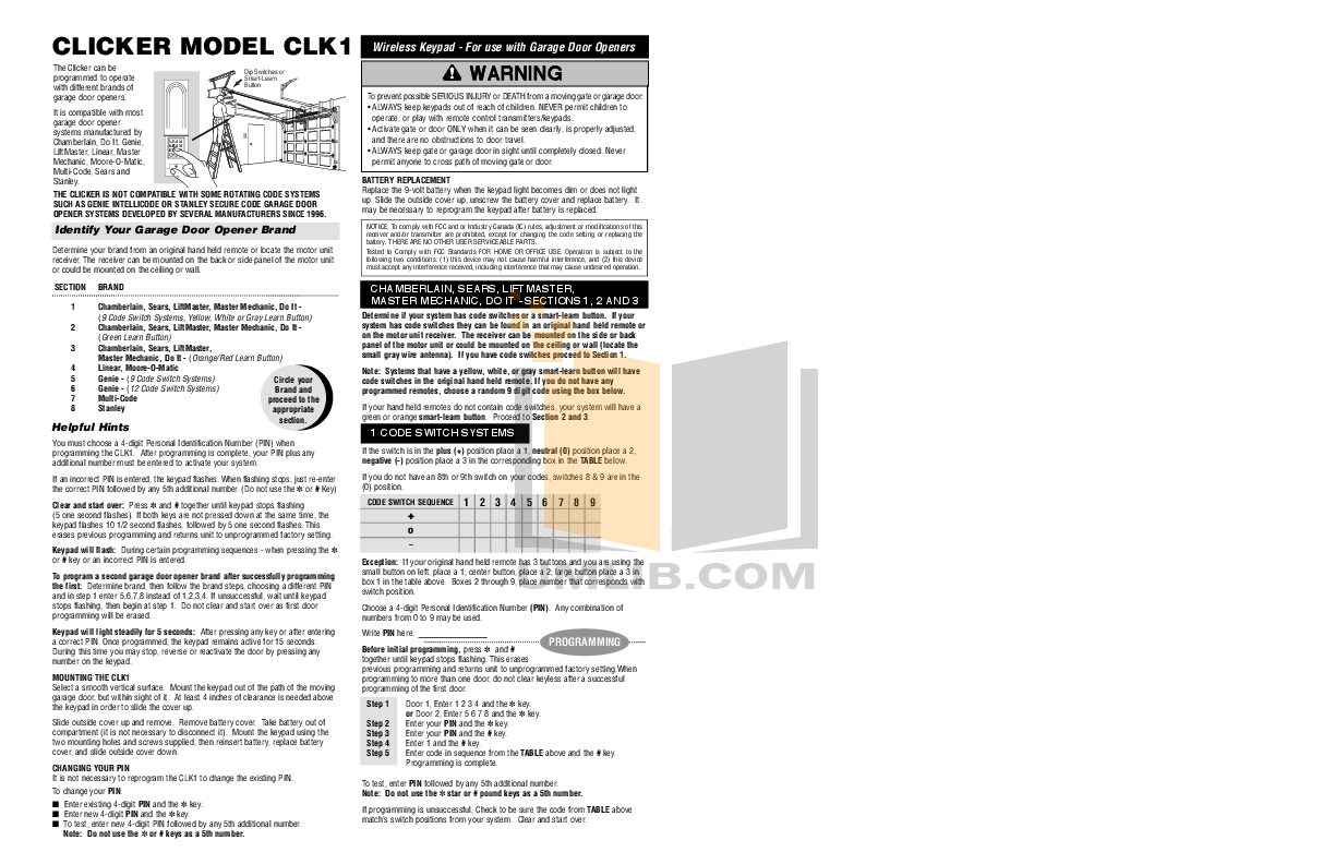 Download Free Pdf For Chamberlain Liftmaster 1255 2r