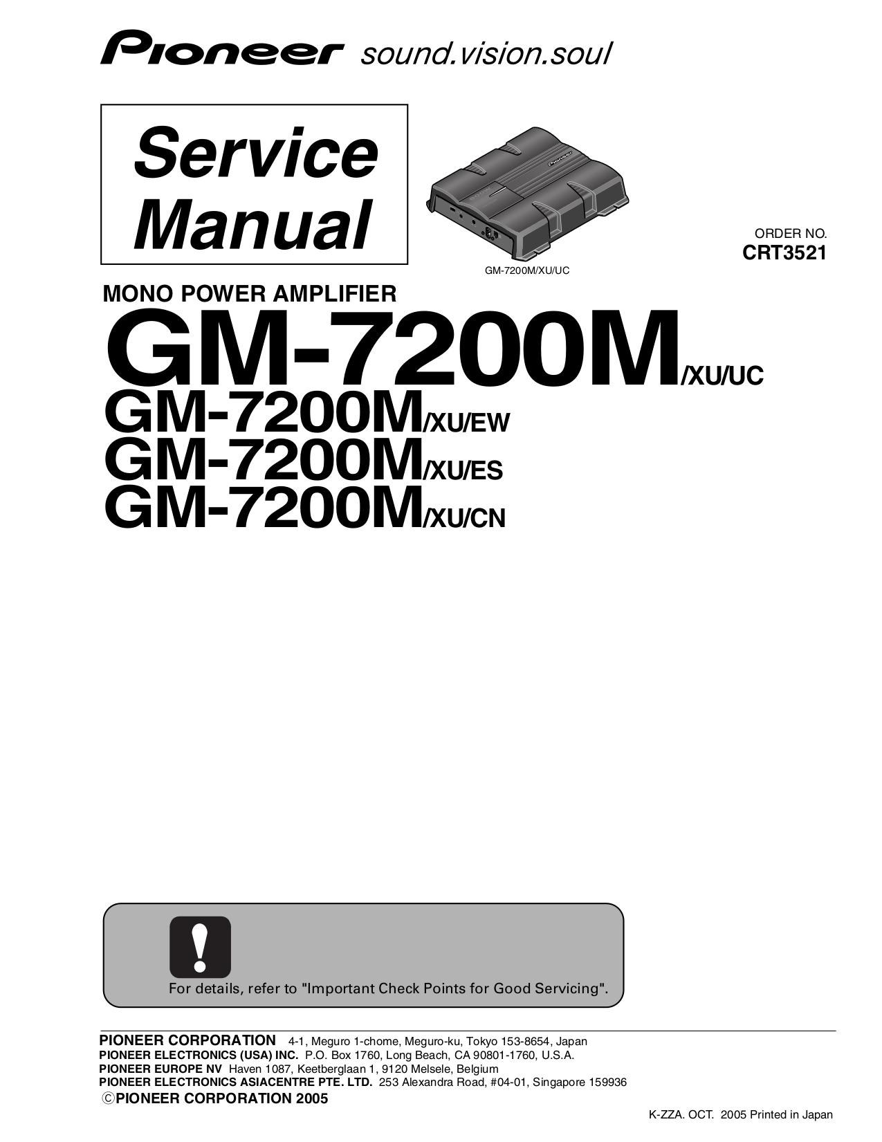 Pioneer Gm H100 Amplifier Manual