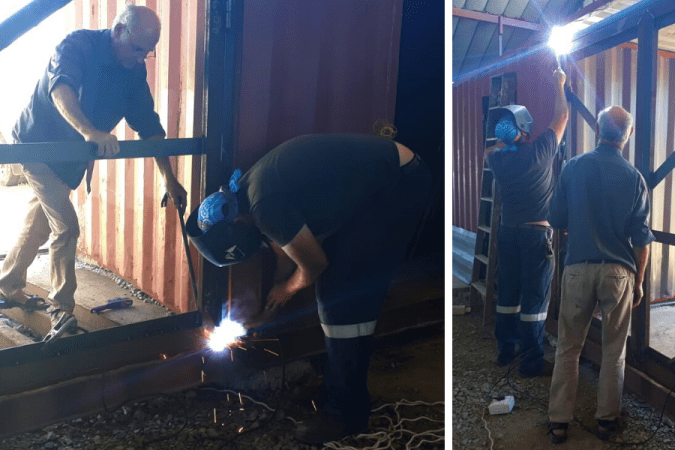 welding a door frame to a shipping container to make our container home entrance