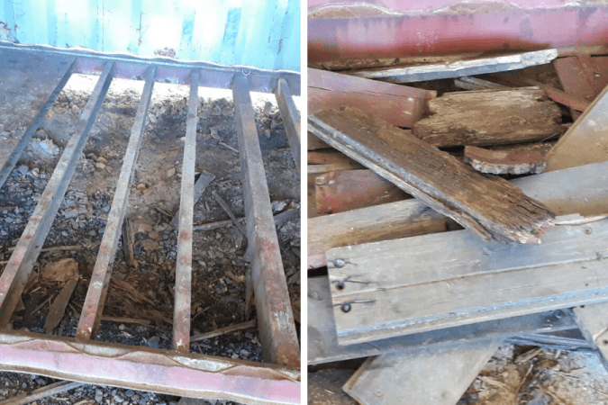 rotten wood from shipping container floor