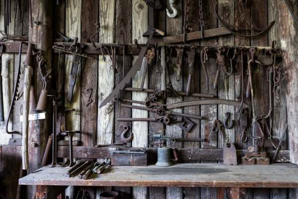 workshop with tools on tool board storage