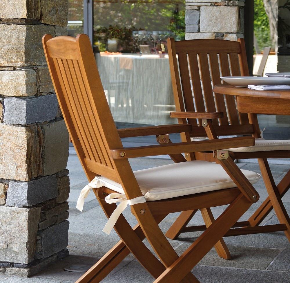 Bakaji set 2 sedie pieghevoli struttura in alluminio schienale reclinabile in 5 posizioni con braccioli e rivestimento texilene per campeggio spiaggia. Sedia Pieghevole Siviglia Con Braccioli In Legno D Acacia