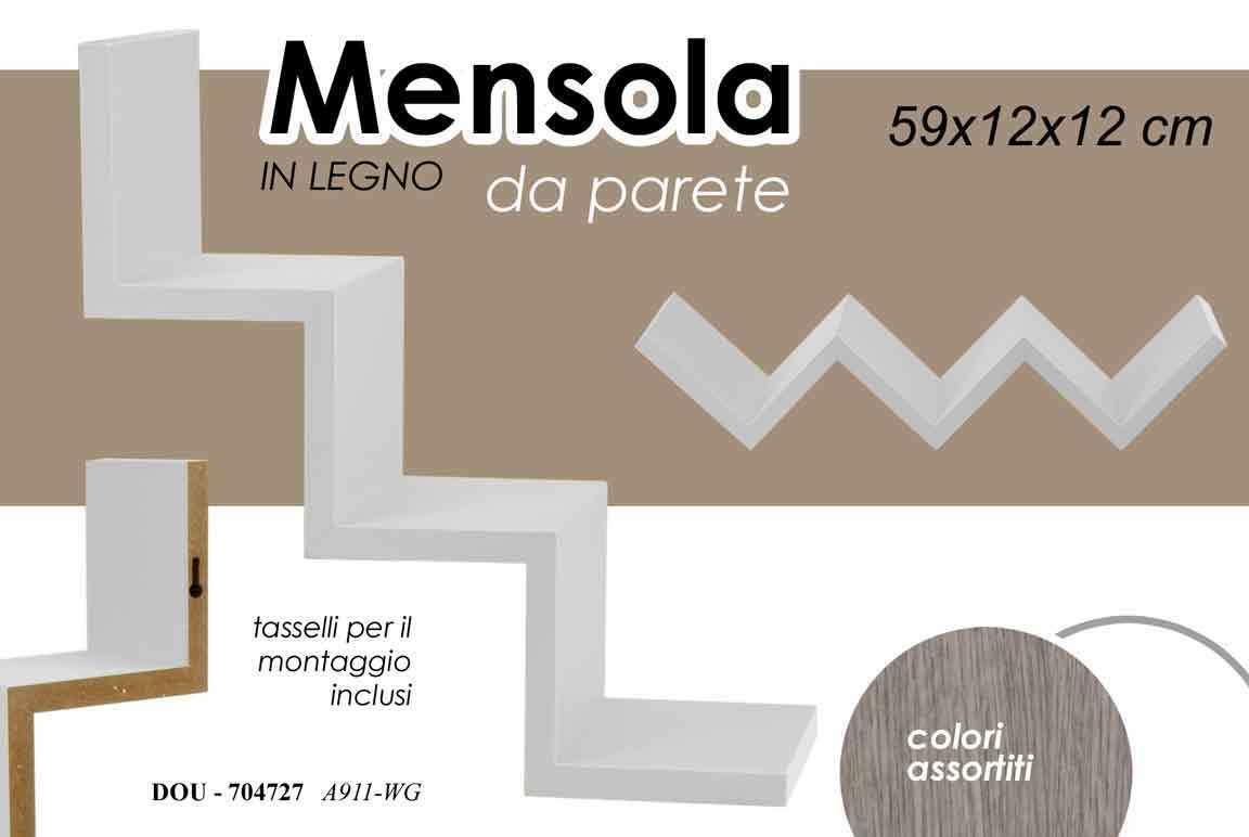 Scrivi per primo una recensione! Mensola Da Parete Forma Zig Zag Design Elegante Moderno In Legno Bianco 59x12cm