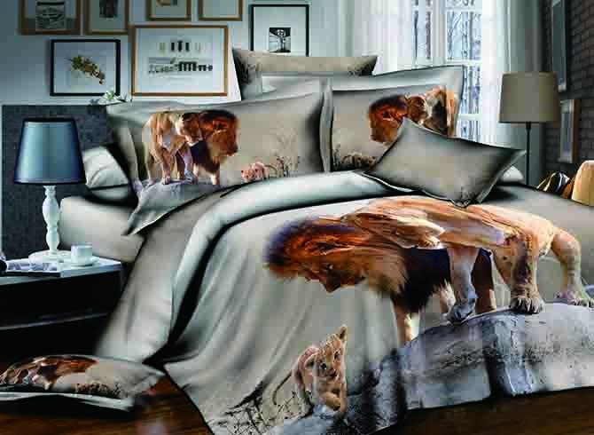Powerful Lion Print Soft 100% Cotton 4-Piece Duvet Cover Sets