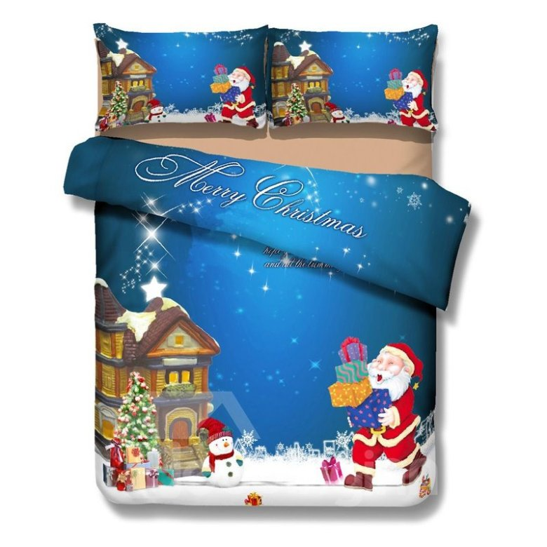 Classic Christmas Santa and Gift Print 4-Piece Polyester Duvet Cover Sets