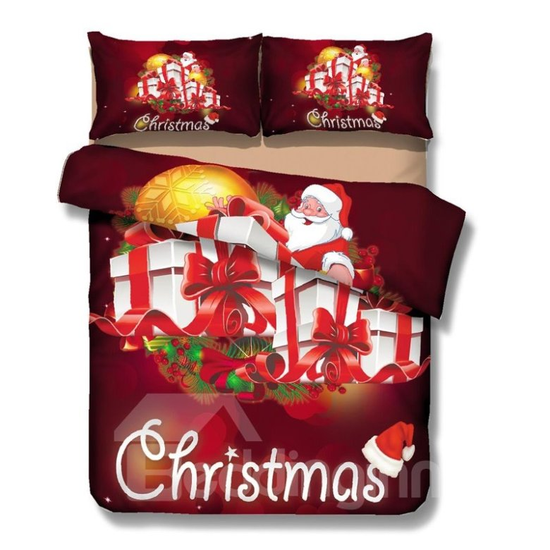 Gorgeous Christmas Gift and Santa Print 4-Piece Polyester Duvet Cover Sets
