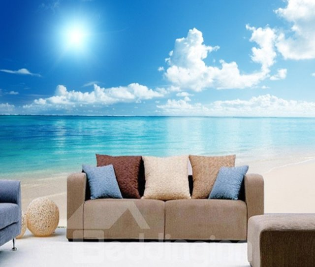 Blue Sky And Sea Scenery Pattern Pvc Waterproof And Durable D Wall Murals