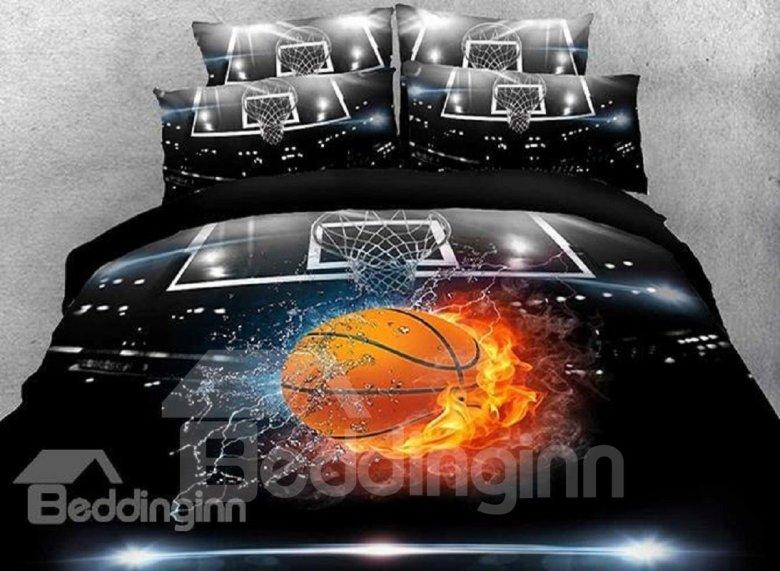 4 Piece Duvet Basketball Bedding Set in Various Sizes
