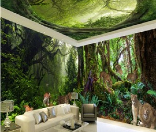 Vivid Animal In The Forest Scenery Pattern Design Combined D Ceiling And Wall Murals