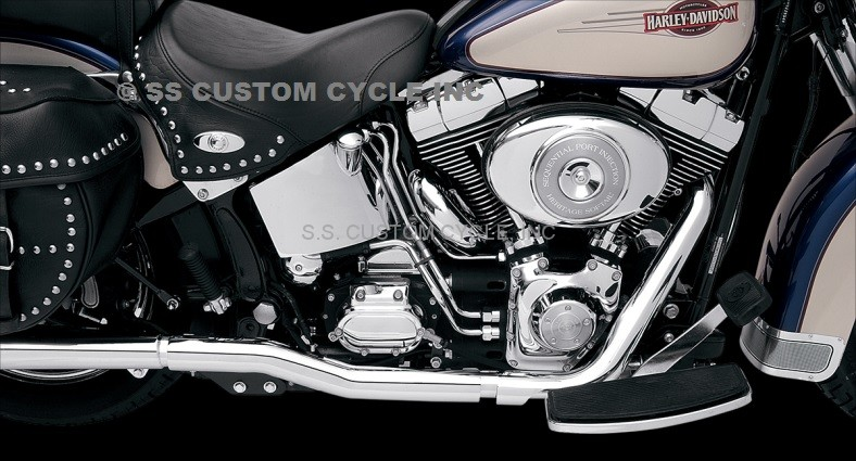 bassani power curve true dual crossover header pipes for softail 89 06 except 95 flstc