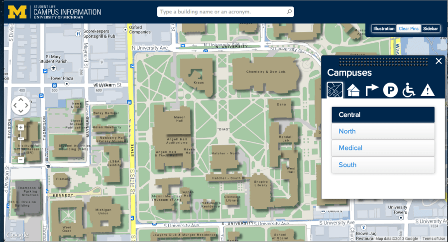 University of Michigan Interactive Campus Map   Services for     Screen shot of U M interactive campus map