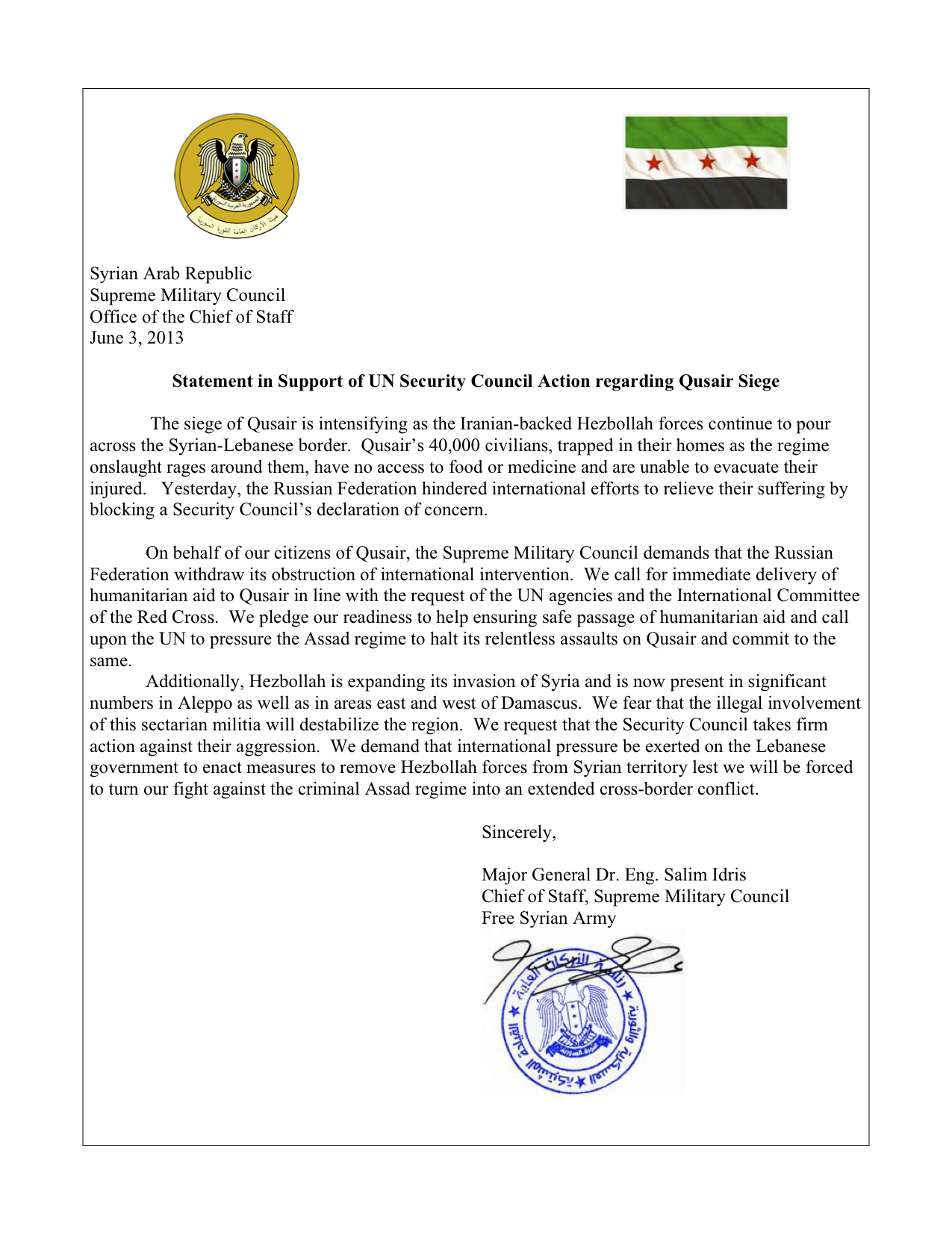 General Idris S Letter To The United Nations Security