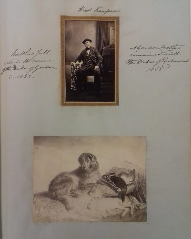 Page from the 'Duchess of Gordon' photograph album with a photograph of Matthew Jubb, head keeper, who worked at Gordon Castle from 1832 until at least 1863, above a copy of a Landseer print of a dog and dead game