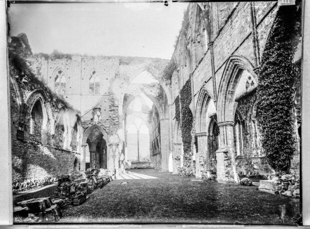 Glass plate negative of Tintern Abbey