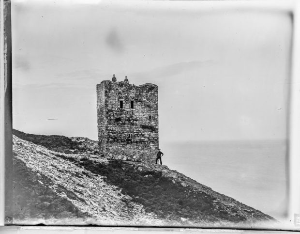 Glass plate negative of Ailsa Craig Tower House
