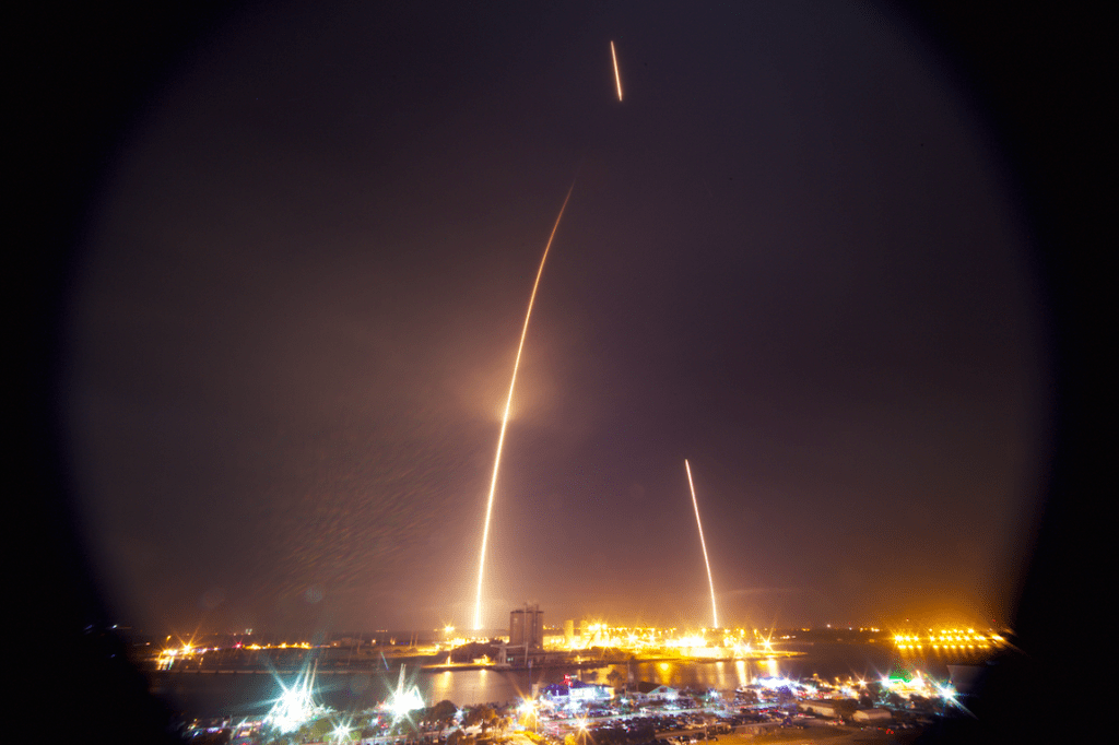 The Falcon 9 booster's trajectory is clearly visible in this long exposure view recorded from Exploration Tower in Port Canaveral, Florida. Credit: Katie Darby
