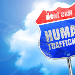 human trafficking, 3D rendering, blue street sign