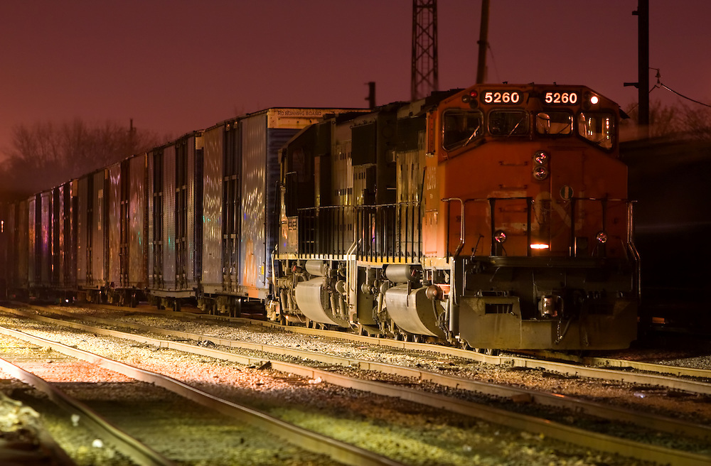 Canadian National Freight Train At Night Photography By