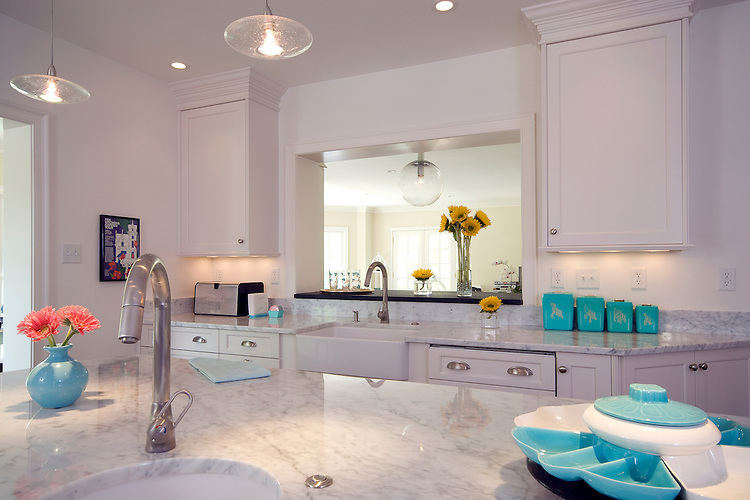 Modern White Kitchen With Turquoise Accents John Magor