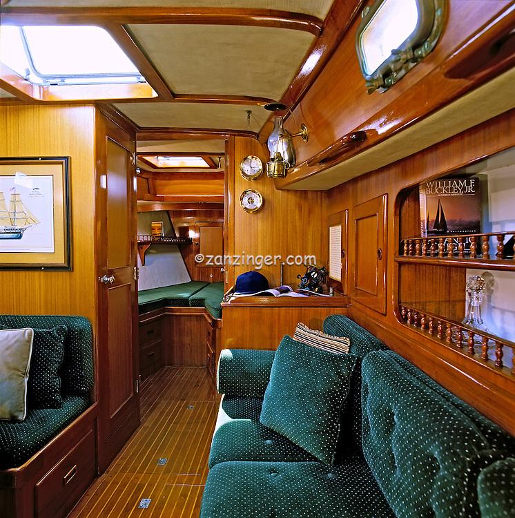 44 Peterson Sailboat Teak Interior Dining Salon