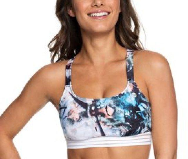 Roxy Fitness Sporty Bra Bikini Top For Women Erjx
