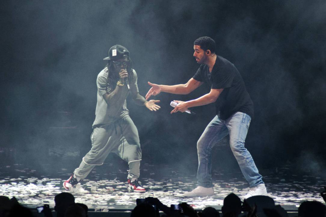 Drake and Lil Wayne perform at First Midwest Bank Amphitheatre on August 10, 2014 in Tinley Park, Illinois.