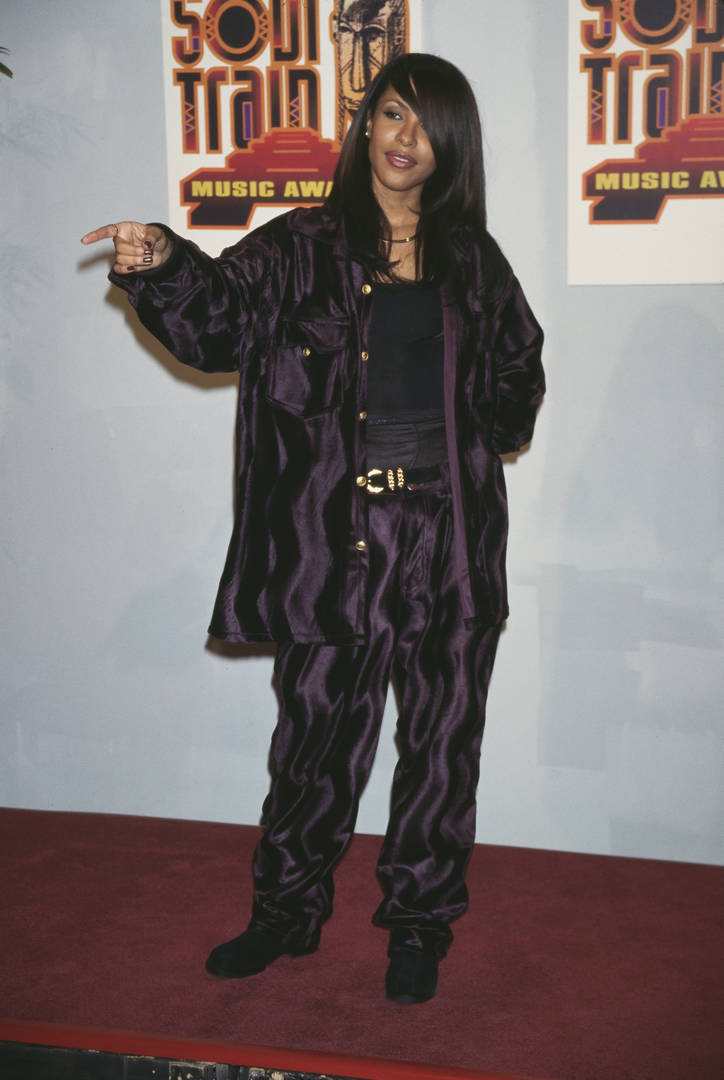 American singer and actress Aaliyah (1979-2001) attends the 11th Soul Train Music Awards, held at the Shrine Auditorium in Los Angeles, California, 7th March 1997.
