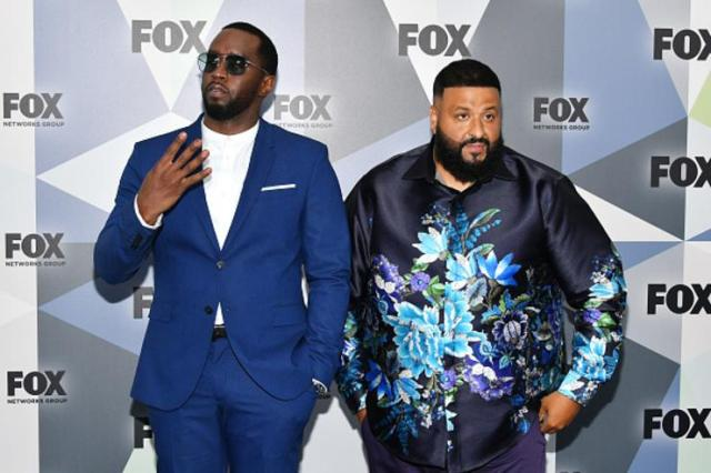 Sean 'Diddy' Combs (L) and DJ Khaled attend the 2018 Fox Network Upfront at Wollman Rink, Central Park on May 14, 2018 in New York City.