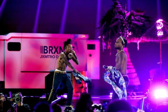 Swae Lee (L) and Slim Jxmmi of Rae Sremmurd perform onstage during the 2018 iHeartRadio Music Festival at T-Mobile Arena on September 21, 2018 in Las Vegas, Nevada
