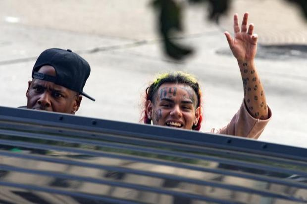 Rapper Tekashi69, real name Daniel Hernandez and also known as 6ix9ine, Tekashi 6ix9ine, Tekashi 69, leaves after his arraignment on assault charges in County Criminal Court #1 at the Harris County Courthouse on August 22, 2018 in Houston, Texas.
