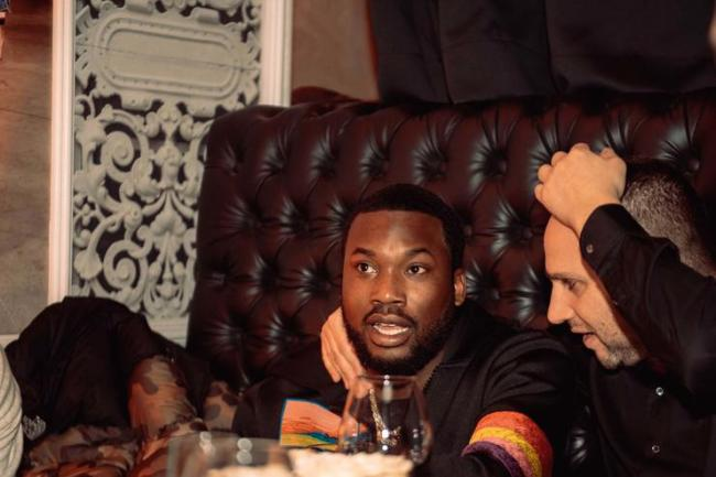 Meek Mill and member of the Philadelphia 76ers ownership group Michael Rubin attend the Klutch 2019 All Star Weekend Dinner Presented by Remy Martin and hosted by Klutch Sports Group at 5Church on February 16, 2019 in Charlotte, North Carolina.