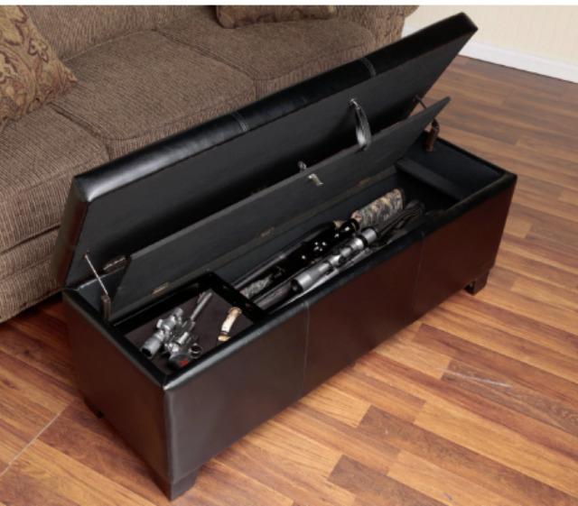 Wood Gun Concealment Bench Nailhead Storage Ottoman Long