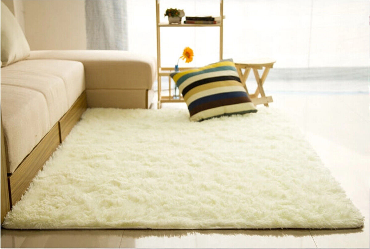 fluffy rugs anti-skid shaggy area rug home room bedroom carpet