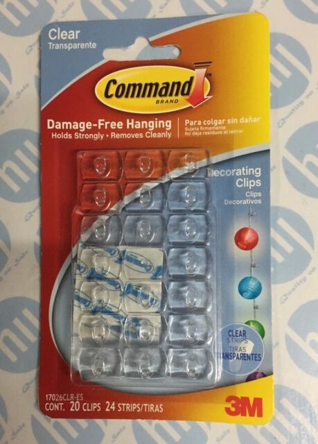 Command Decorating Clips Strips Clear   3M   eBay 3M Command 20 Clear Self Adhesive Sticky Hooks   Hang Christmas Lights