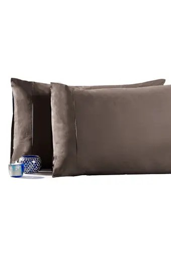 slumber 210 tc cotton brown pillow cover set of 2