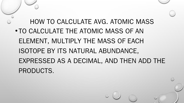 Calculating Average Atomic Mass Pptx