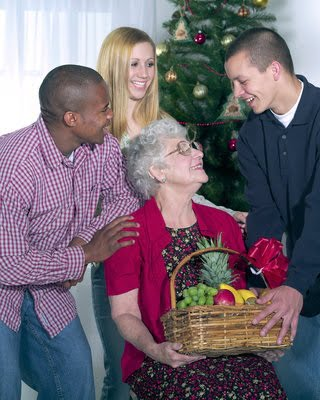 Young People Helping Older Woman