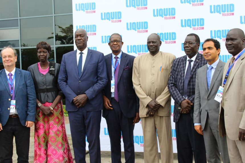 From left to right; Hans Haerdtle (Liquid Telecom), Hon. Rebecca Joshua Okwaci - Minister of Roads and Bridges in South Sudan, Hon. Kuol Manyang Juuk - Minister of Defense and Veterans Affairs in South Sudan, Sam Nkusi (Liquid Telecom), Hon. Michael Makuei Lueth - national Minister of ICT and Postal Services in South Sudan, Hon. Juma Stephen - Jubek State Minister of Information and Communication, Adil El Youssefi (Liquid Telecom), Hon. Justin Aleer De-Mayen - Undersecretary, Ministry of ICT and Postal Services(Photo credit: Liquid Telecom)