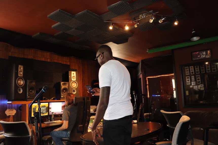 K-Denk in the studio in Edmonton Canada releasing his new singles Hope - There will be a brighter Day(Photo credit: Wandunkon/Nyamilepedia)