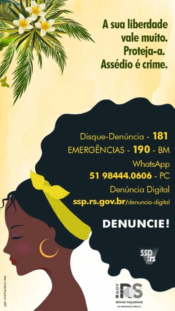Card com números para denúncia de casos de violência contra a mulher. Desenho de uma mulher negra com cabelo comprido e os números estão aplicados sobre ele.